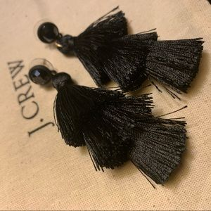 J. Crew tassel earrings black. New.